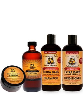 Sunny Isle New And Improved Extra Dark Jamaican Black Castor Oil Hair Care Kit   4 Piece by Sunny Isle