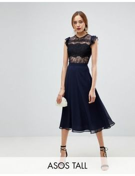 Asos Tall Lace Midi Dress With Lace Frill Sleeve by Asos Tall