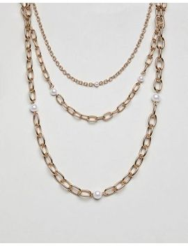 Liars & Lovers Multi Row Gold Chain & Pearl Necklaces by Liars & Lovers