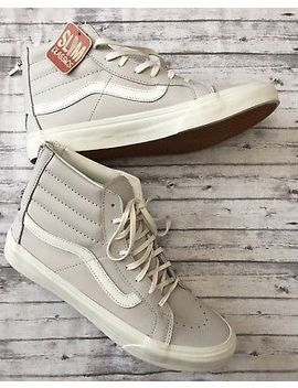 Vans Sk8 Hi Slim Classics Zipper Dove Gray Ivory Leather Sneakers Womens 10 by Vans