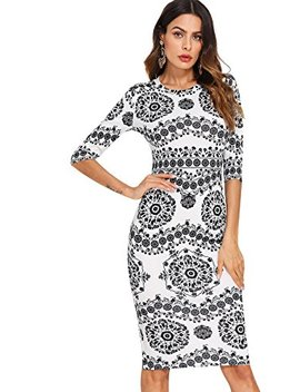 Floerns Women's Porcelain Print Work Sheath Business Pencil Dress by Floerns