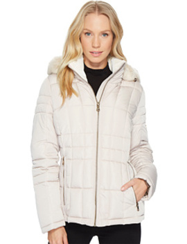 Puffer Short With Detachable Fur Trimmed Hood by Calvin Klein