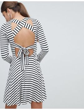 Pretty Little Thing Striped Tie Back Dress by Pretty Little Thing