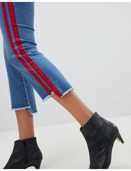 Only Straight Leg Crop Jean With Sports Stripe by Only