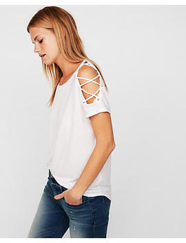 Express One Eleven Lace Shoulder London Tee by Express