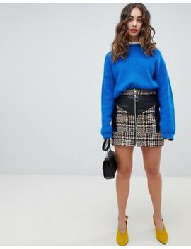 River Island A Line Tweed Faux Leather Mini Skirt by River Island