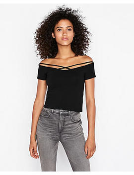 Express One Eleven Off The Shoulder Crisscross Strap Abbreviated Tee by Express