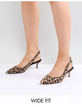 Dune Wide Fit Casandra Faux Leopard Slingback Kitten Heeled Shoes by Dune
