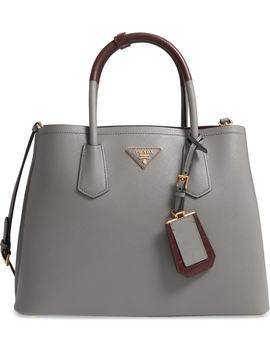 Large Double Two Tone Saffiano Leather Tote by Prada