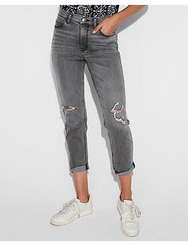 High Waisted Black Ripped Original Girlfriend Jeans by Express