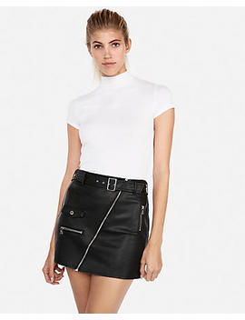 (Minus The) Leather Belted Moto Mini Skirt by Express