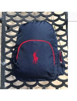 Nwt Ralph Lauren Child's Campus Backpack, Navy Blue/Red, One Size, New by Ralph Lauren