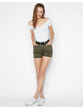 High Waisted Vintage Double Roll Twill Midi Shorts by Express