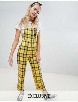 Reclaimed Vintage Inspired Zip Through Jumpsuit In Yellow Check by Reclaimed Vintage
