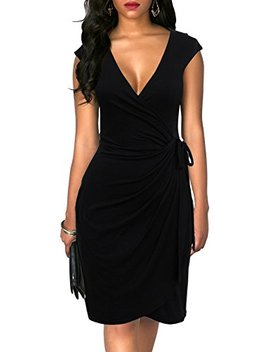 Berydress Women's Classic Cocktail Party Cap Sleeve Deep V Neck Draped Waist Tie Belt Knee Length Faux Wrap Dress by Berydress