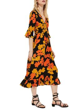 Bold Floral Midi Dress by Topshop