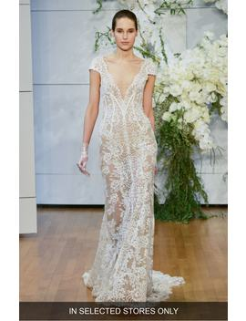 Arden Plunge Lace Sheath Gown by Monique Lhuillier