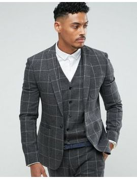 Asos Super Skinny Suit Jacket In Charcoal Windowpane Check by Asos
