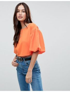 Boohoo Exaggerated Sleeve Cropped Top by Boohoo
