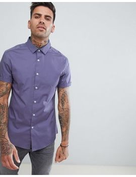 Asos Design Skinny Shirt In Purple by Asos Design