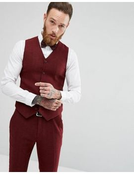 Asos Wedding Super Skinny Suit Vest In Wine Herringbone by Asos