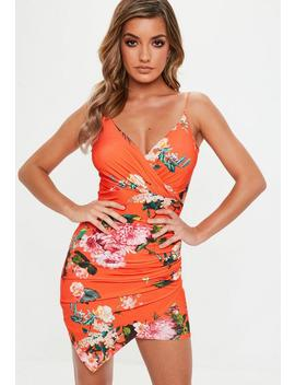 Orange Floral Strappy Slinky Wrap Bodycon Dress by Missguided