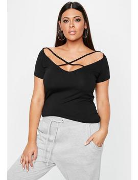 Curve Black Strap Detail Off Shoulder T Shirt by Missguided