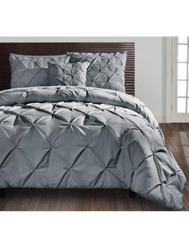 Vcny Home King Size Comforter Set In Grey Posh Pintuck 4 Pc Set W/Decorative Pillows by Vcny Home