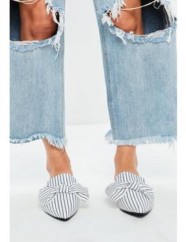 White Striped Bow Pointed Mules by Missguided