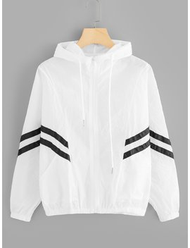 Striped Tape Panel Drawstring Hooded Jacket by Romwe