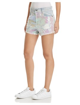 Nova Sequined Denim Shorts In Mermaida   100% Exclusive by Sunset &Amp; Spring