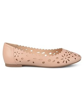 Brinley Co Womens Dester Faux Leather Wide Width Scalloped Laser Cut Round Toe Flats by Brinley+Co