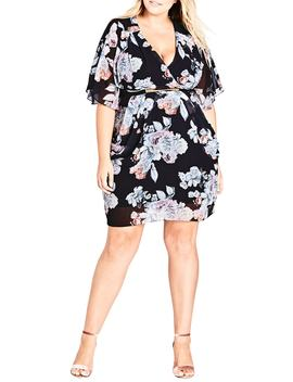 Floral Print Belted Faux Wrap Dress by City Chic