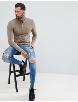 Asos Design Muscle Fit Long Sleeve Jersey Polo In Beige by Asos Design