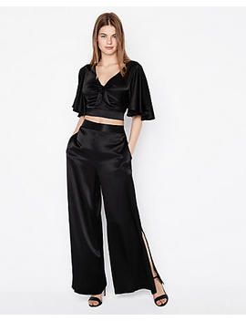 Solid Tie Front Cropped Top by Express