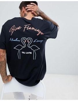 Boohoo Man Oversized T Shirt With Blue Flamingo Print In Black by Boohoo Man