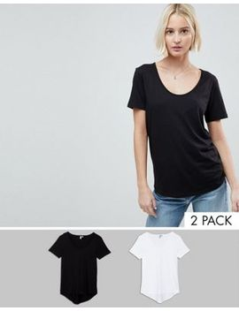 Asos T Shirt With Scoop Neck And Curved Hem 2 Pack Save 10% by Asos Collection