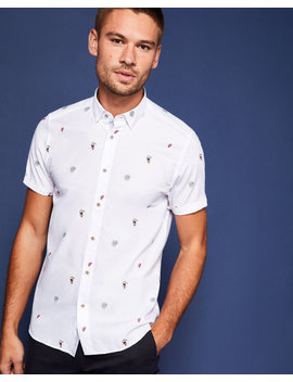 Tropical Embroidered Fil Coupe Shirt by Ted Baker