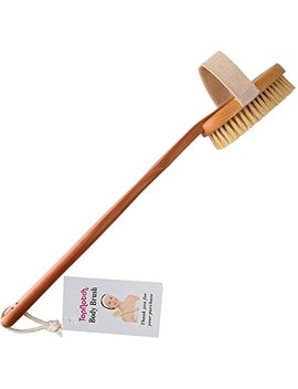 Top Notch Body Bath Brush   Long Handle Natural Bristles Wooden Bath Brushes   Detachable Head   Dry Skin Brushing E Book by Top Notch