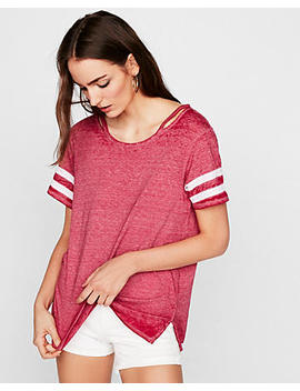 Express One Eleven Sporty Burnout Slash Neck Tee by Express