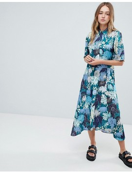 Monki Floral Print Midi Button Up Dress by Monki