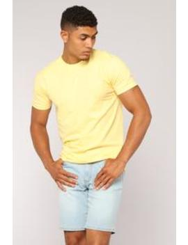 Essential Crew Tee   Yellow by Fashion Nova