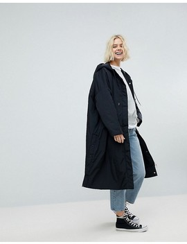 Weekday Longline Parka With Side Popper Detail by Weekday