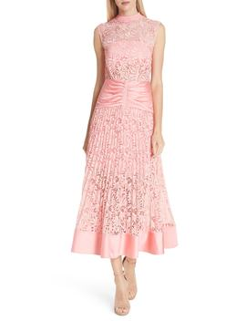 Floral Lace Sleeveless Midi Dress by Self Portrait