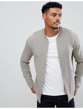 Asos Design Jersey Bomber Jacket In Overdye Beige Marl by Asos Design