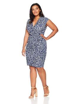 Lark & Ro Women's Plus Size Classic Cap Sleeve Wrap Dress by Lark+%26+Ro