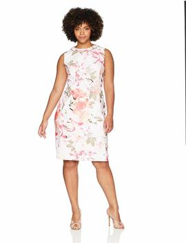 Calvin Klein Women's Plus Size Printed Sheath Dress With Pearls At Neck by Calvin+Klein