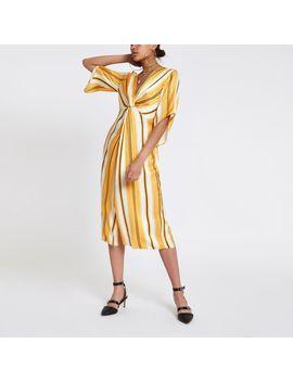 Yellow Stripe Twist Front Maxi Dress by River Island