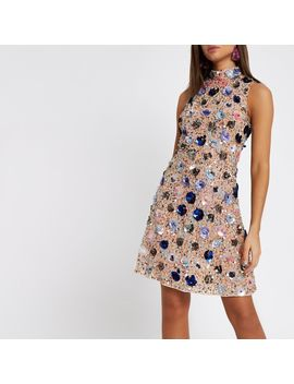 Pink Sequin Embellished Mesh Midi Dress by River Island