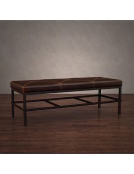 Stones & Stripes Antique Steel Vintage Tobacco Leather Bench by Stone & Stripes